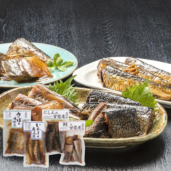 おが和 北の煮魚セット 4種(いわし・にしん・さば・鱈)【送料無料】【ギフトセット】【詰め合わせ】【北海道】【甘露煮】