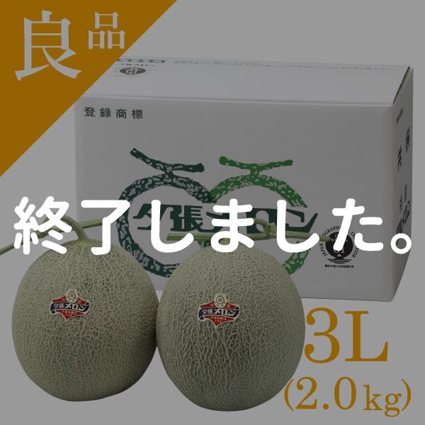 夕張メロン 良品 2玉 3Lサイズ(約2.0kg)【送料無料】