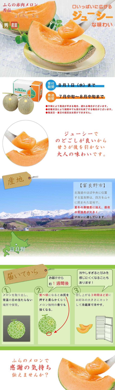 ふらの赤肉メロン 秀品 約1.6kg  2玉