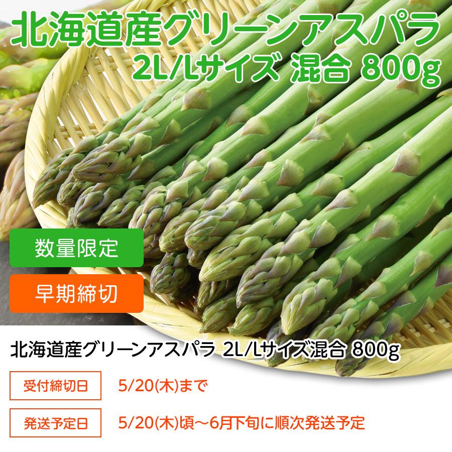 北海道グリーンアスパラ 2L/Lサイズ混合 800g【送料無料】