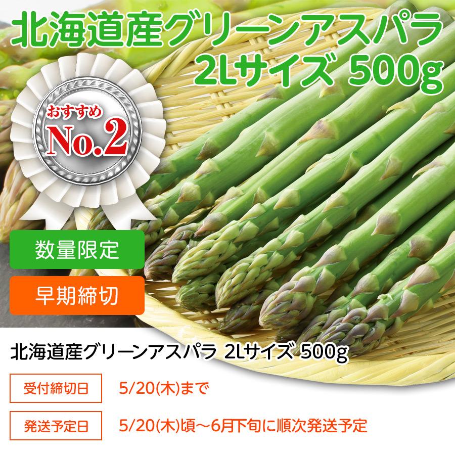 北海道グリーンアスパラ 2Lサイズ 500g【送料無料】