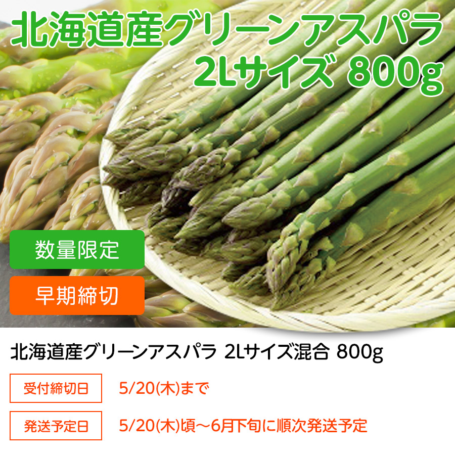 北海道グリーンアスパラ 2Lサイズ 800g【送料無料】