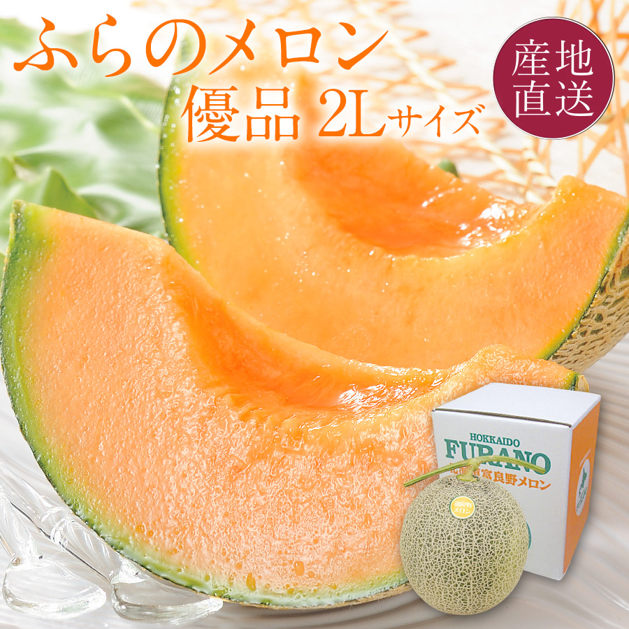 ふらのメロン 優品 1玉 2L(約1.6kg)【7月中旬よりご注文順に発送】【送料無料】